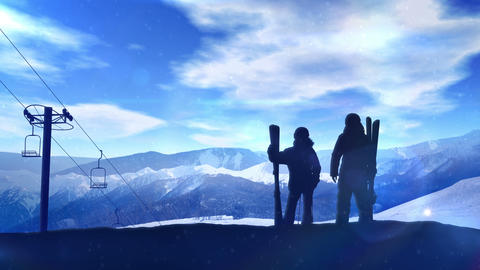 Skiers stand on a snowy mountainside CG動画