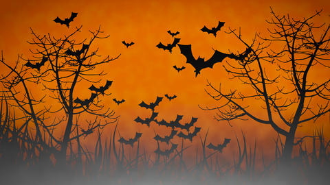 Spooky Halloween theme background animation, with scary moving trees, flying bats and smoke Animation