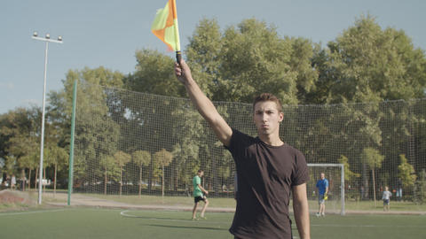Assistant referee in action during soccer match Live Action