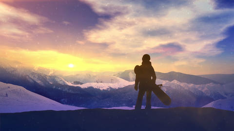Girl with a snowboard on a snowy slope CG動画