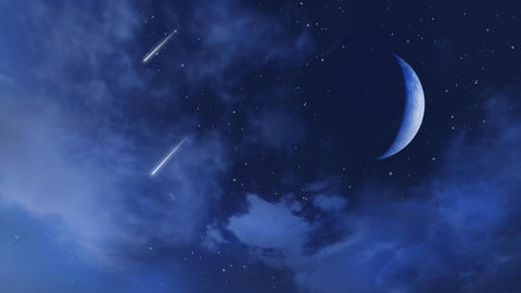 Big half moon and falling stars in cloudy night sky Live Action