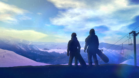 A pair of snowboarders standing on the slope CG動画