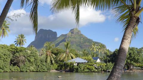 Tahiti French Polynesia Bora Bora and Mount Otemanu Live Action