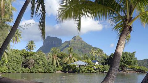 Bora Bora and Mount Otemanu in Tahiti French Polynesia Live Action