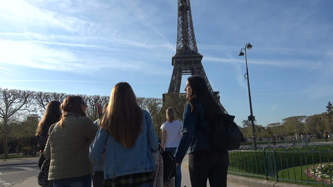 Girls Approaching the Eiffel Tower Live Action