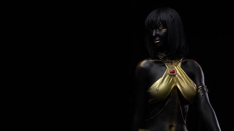 Body art and makeup in black and gold colors, with golden top and jewelry, 4k Live Action