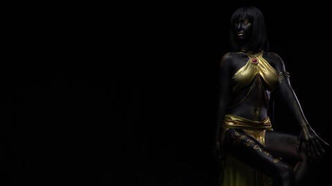 Black body art and makeup on a woman with hieroglyphics on her leg, 4k Live Action