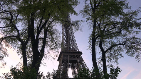 Eiffel Tower during Nightfall - Zoom out Live Action