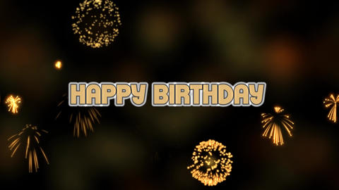 Happy birthday movie with realistic firework, party video banner, firework and Animation