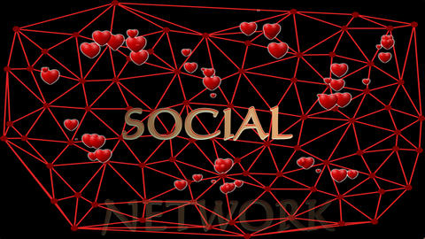 Social network animation with cute red hearts, beating in group within red mesh Animation