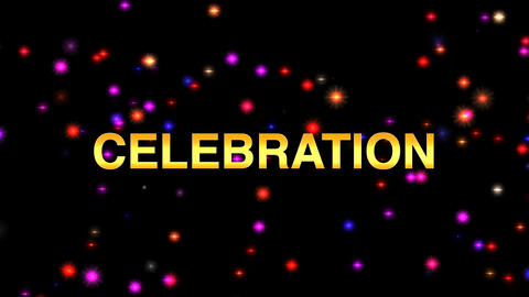 Colourful background with celebration message and particles. Birthday, wedding, christmas theme Animation