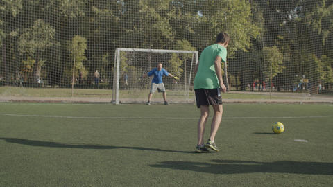 Soccer team celebrating win after penalty shootout Stock Video Footage