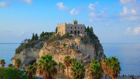 Tropea, Italy. Evening timelapse with view on rock mountain with the Sanctuary of Santa Maria Live Action