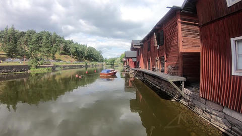 Daily scenery of the Porvoo river in Finland Live Action