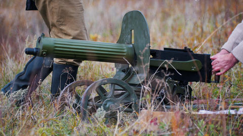 RUSSIA, REPUBLIC OF TATARSTAN 30-09-2019: Two military men fixing the position Footage