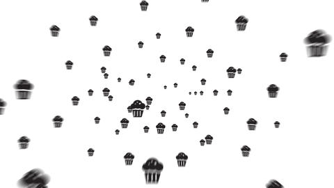 Muffins flying out of screen Animation