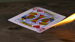 Burning king of hearts poker card Footage