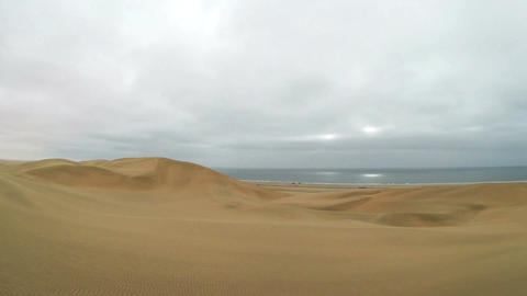 Namib Desert meets the Atlantic Ocean. Dunes of the Namib Desert Footage