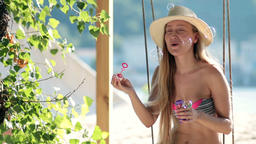 Stunning blonde woman sitting on a swing on beach Live Action