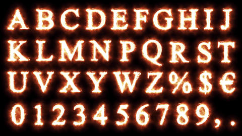 complete set of fire alphabet. Letter and numbers Animation