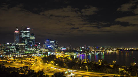 Australia, Perth, KingsPark, City Night View, Skyline Footage