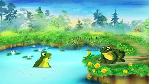Green Frog near the Pond UHD Animation