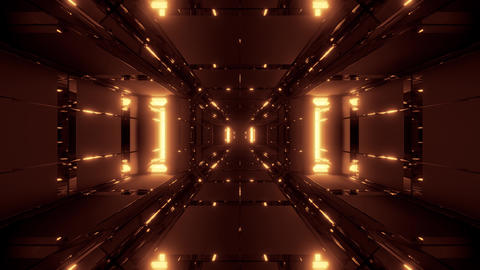 abstract futuristic glowing scifi tunnel corridor with cool reflection 3d Animation