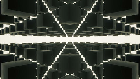 Camera navigating in a 3d black reflective cubes structure on a white background 2 Animation