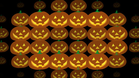 Halloween pumpkins transition with glowing face on alpha channel background. 4K Animation