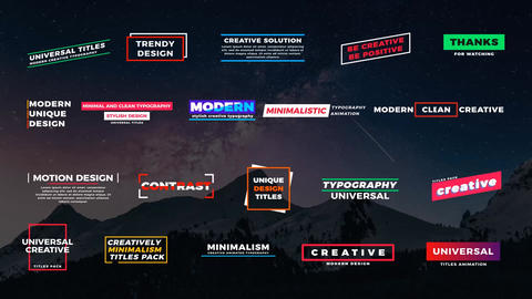 20 Universal Titles Plantillas de Motion Graphics