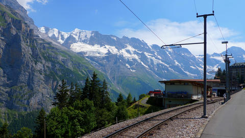 Train station of Murren located on a mountain in the Swiss Alps - SWISS ALPS Live Action