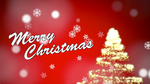 Merry Christmas greeting message with snow flakes and sparkly tree on a red gradient background Animation