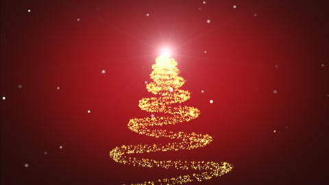 Beautiful Sparkly Christmas tree rotating on red gradient background with snowflakes. Christmas Animation