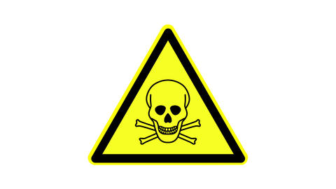 Warning symbol toxic substances, animated, footage ideal for special effects and Live Action