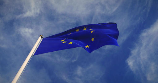 European Union Flag Flying 30fps 4k Video Of Eu Banner Animation