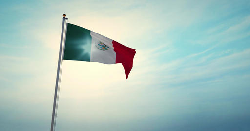 Waving Mexican Flag In Mexico City National Celebration - 4k 30fps Footage Animation