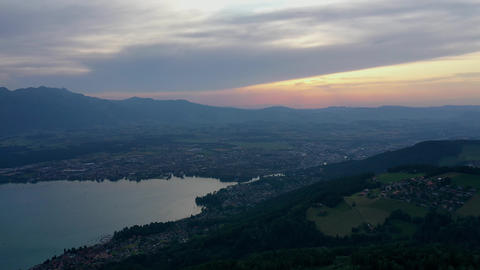 Sunset over the city of Thun in Switzerland Live Action