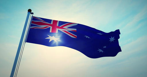 Australian Flag Waving Is A National Symbol Of Patriotism For Australia - 30fps 4k Video Animation