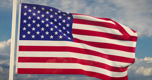 American Flag Waving In The United States Of America Shows Independence - Slow Motion Video 4k 30fps Animation