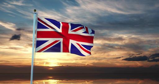 United Kingdom Flag Waving Shows British Or United Kingdom National Banner - 30fps 4k Slow Motion Animation