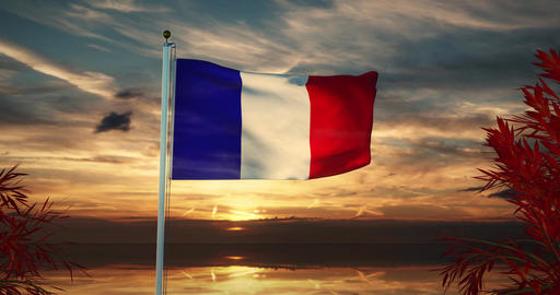 French Tricolour Waving Or France Flag Banner Flying - 30fps 4k Video Animation