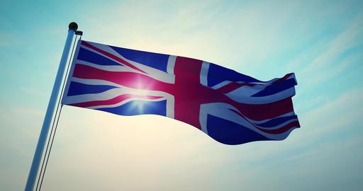 British Flag Waving Shows Union Jack United Kingdom National Banner - 30fps 4k Animation