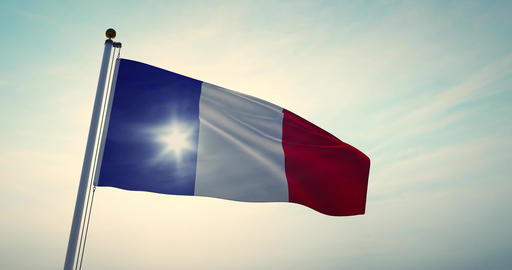 French Flag Waving Or France Tricolour Banner Flying - 30fps 4k Video Animation