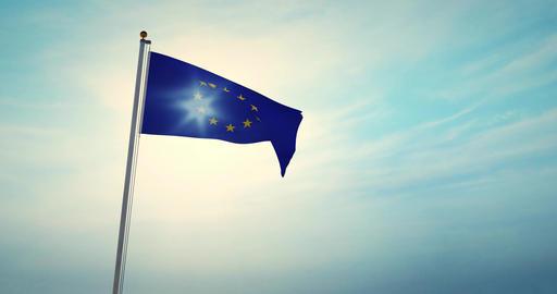 European Union Flag Flying 30fps 4k Video Of Eu Banner Animation