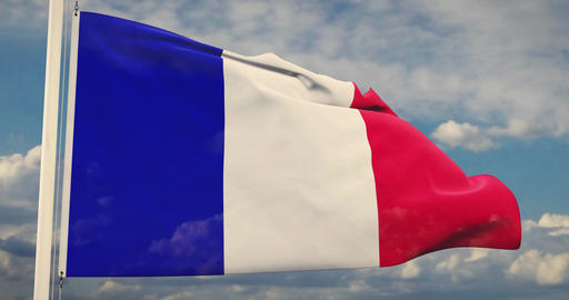 French Flag Waving Or France Tricolour Banner Flying - 30fps 4k Slow Motion Video Animation