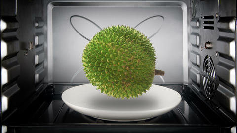 Durian floating and rotate inside convection oven Live Action