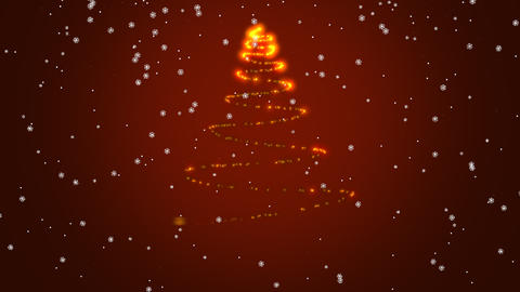 Sparkly Christmas tree rotating on red gradient…, Stock Animation