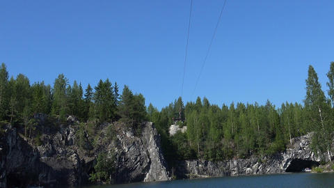 Zip-line. Ropes course, over water. Flying Fox. Marble Canyon Footage
