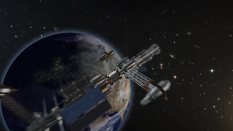 Beautiful flight through space satellite to earth Animation
