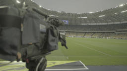 TV camera in the stadium during TV broadcast live Footage
